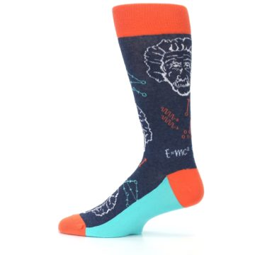 Image of Navy Orange Einstein Math Genius Men's Dress Socks (side-2-12)