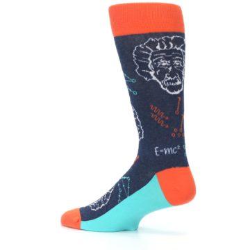 Image of Navy Orange Einstein Math Genius Men's Dress Socks (side-2-13)