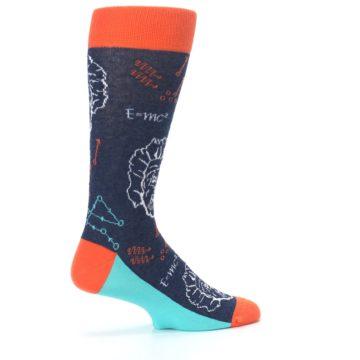Image of Navy Orange Einstein Math Genius Men's Dress Socks (side-1-23)