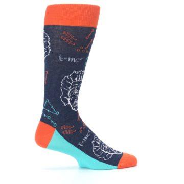 Image of Navy Orange Einstein Math Genius Men's Dress Socks (side-1-24)