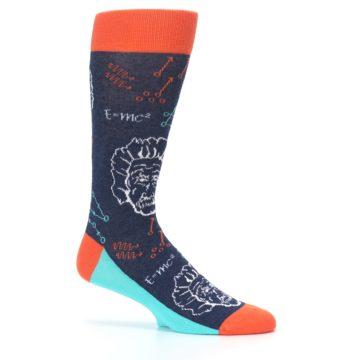 Image of Navy Orange Einstein Math Genius Men's Dress Socks (side-1-25)