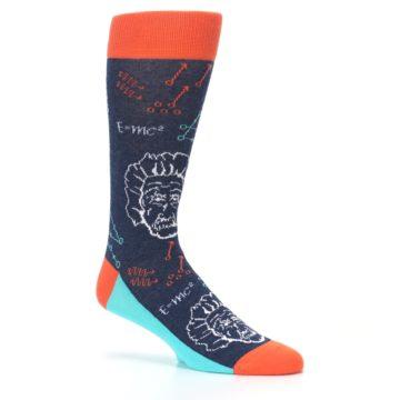 Image of Navy Orange Einstein Math Genius Men's Dress Socks (side-1-26)