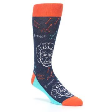 Image of Navy Orange Einstein Math Genius Men's Dress Socks (side-1-27)