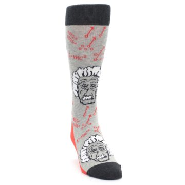 Image of Gray Einstein Math Genius Men's Dress Socks (side-1-front-03)