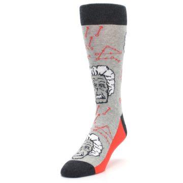 Image of Gray Einstein Math Genius Men's Dress Socks (side-2-front-07)