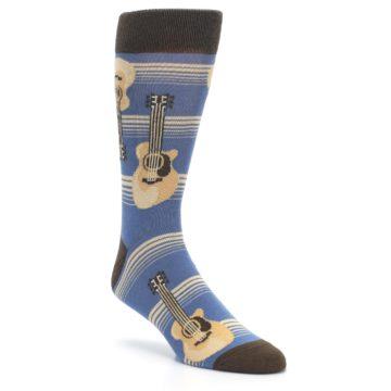 Blue-Tan-Guitars-Mens-Dress-Socks-Statement-Sockwear