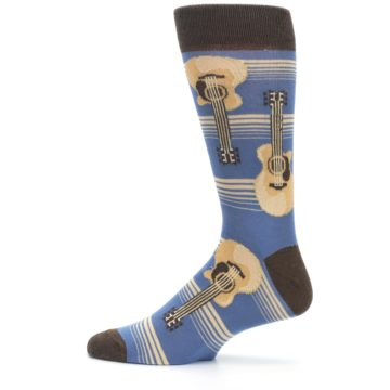 Image of Blue Tan Acoustic Guitars Men's Dress Socks (side-2-12)
