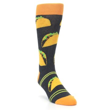 Image of Charcoal Yellow Hard Shell Tacos Men's Dress Socks (side-1-front-02)