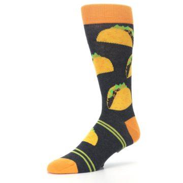 Image of Charcoal Yellow Hard Shell Tacos Men's Dress Socks (side-2-09)