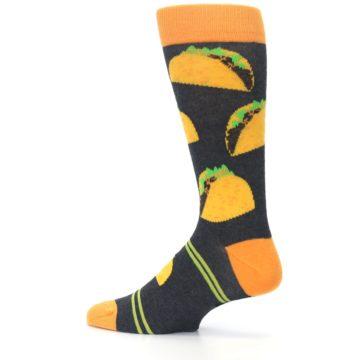 Image of Charcoal Yellow Hard Shell Tacos Men's Dress Socks (side-2-13)