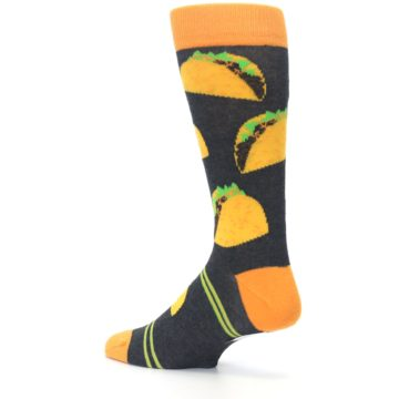 Image of Charcoal Yellow Hard Shell Tacos Men's Dress Socks (side-2-back-14)