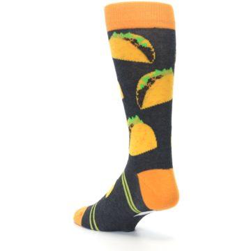 Image of Charcoal Yellow Hard Shell Tacos Men's Dress Socks (side-2-back-15)