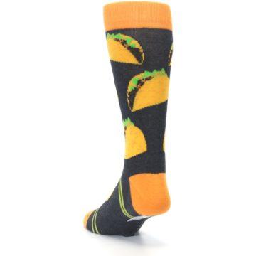 Image of Charcoal Yellow Hard Shell Tacos Men's Dress Socks (side-2-back-16)