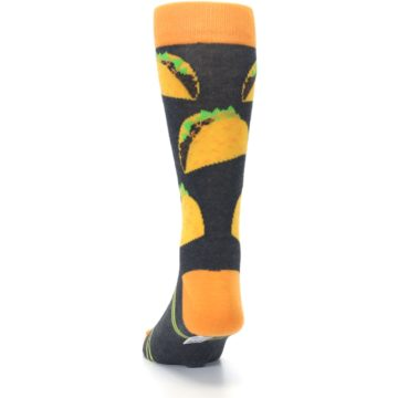 Image of Charcoal Yellow Hard Shell Tacos Men's Dress Socks (back-17)