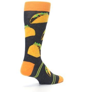 Image of Charcoal Yellow Hard Shell Tacos Men's Dress Socks (side-1-back-22)