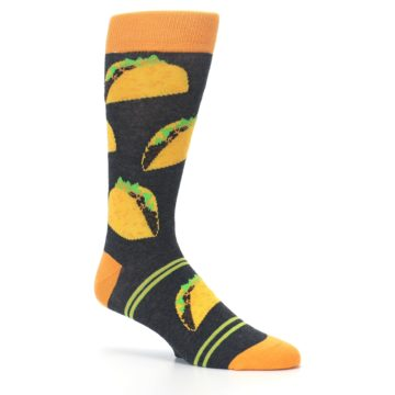 Image of Charcoal Yellow Hard Shell Tacos Men's Dress Socks (side-1-26)