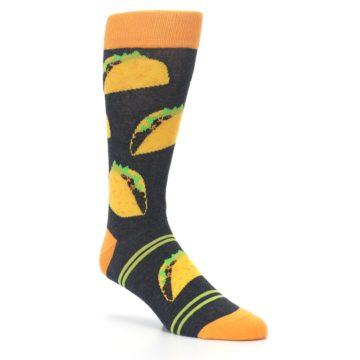 Image of Charcoal Yellow Hard Shell Tacos Men's Dress Socks (side-1-27)