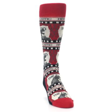 Image of Red Movie Theater Hippo-Critic Men's Dress Socks (side-1-front-03)