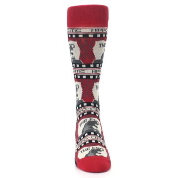 Image of Red Movie Theater Hippo-Critic Men's Dress Socks (front-04)
