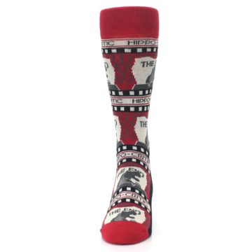 Image of Red Movie Theater Hippo-Critic Men's Dress Socks (front-05)
