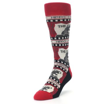 Image of Red Movie Theater Hippo-Critic Men's Dress Socks (side-2-front-07)