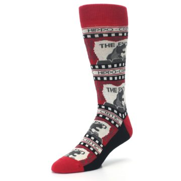 Image of Red Movie Theater Hippo-Critic Men's Dress Socks (side-2-front-08)