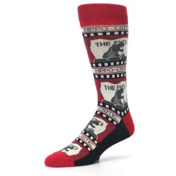 Image of Red Movie Theater Hippo-Critic Men's Dress Socks (side-2-09)
