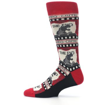 Image of Red Movie Theater Hippo-Critic Men's Dress Socks (side-2-12)