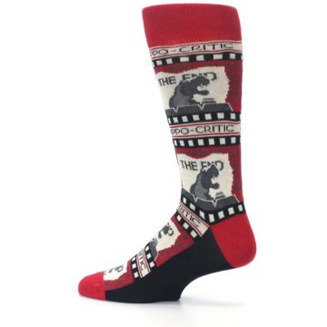 Image of Red Movie Theater Hippo-Critic Men's Dress Socks (side-2-13)