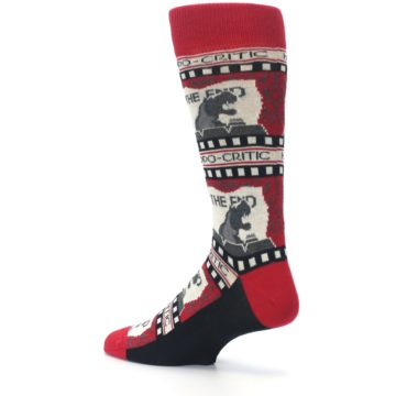 Image of Red Movie Theater Hippo-Critic Men's Dress Socks (side-2-back-14)