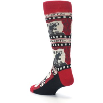 Image of Red Movie Theater Hippo-Critic Men's Dress Socks (side-2-back-15)