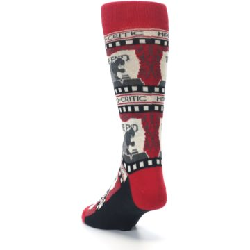 Image of Red Movie Theater Hippo-Critic Men's Dress Socks (side-2-back-16)