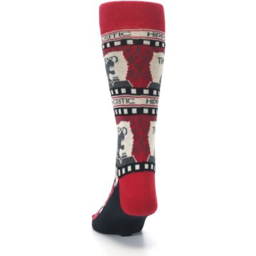 Image of Red Movie Theater Hippo-Critic Men's Dress Socks (back-17)