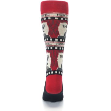 Image of Red Movie Theater Hippo-Critic Men's Dress Socks (back-18)