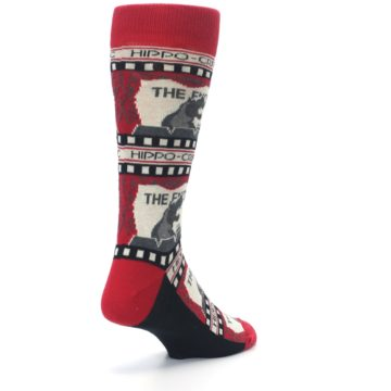 Image of Red Movie Theater Hippo-Critic Men's Dress Socks (side-1-back-21)