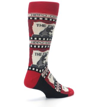 Image of Red Movie Theater Hippo-Critic Men's Dress Socks (side-1-back-22)
