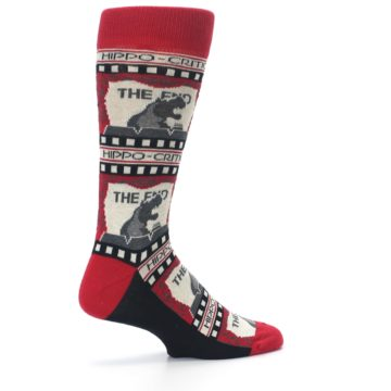 Image of Red Movie Theater Hippo-Critic Men's Dress Socks (side-1-23)