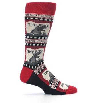 Image of Red Movie Theater Hippo-Critic Men's Dress Socks (side-1-24)