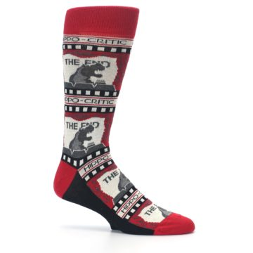 Image of Red Movie Theater Hippo-Critic Men's Dress Socks (side-1-25)