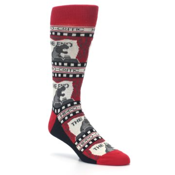 Image of Red Movie Theater Hippo-Critic Men's Dress Socks (side-1-27)