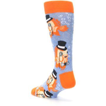 Image of Blue Orange So-fish-ticated Men's Dress Socks (side-2-back-15)