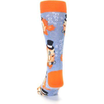 Image of Blue Orange So-fish-ticated Men's Dress Socks (back-17)