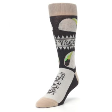Image of Brown Tan Soft Shell Tacos Men's Dress Socks (side-2-front-07)
