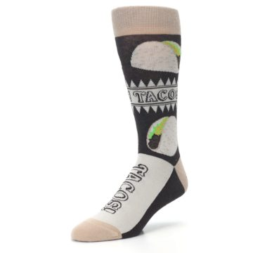 Image of Brown Tan Soft Shell Tacos Men's Dress Socks (side-2-front-08)