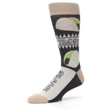 Image of Brown Tan Soft Shell Tacos Men's Dress Socks (side-2-09)