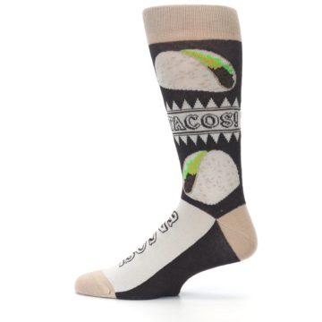 Image of Brown Tan Soft Shell Tacos Men's Dress Socks (side-2-12)