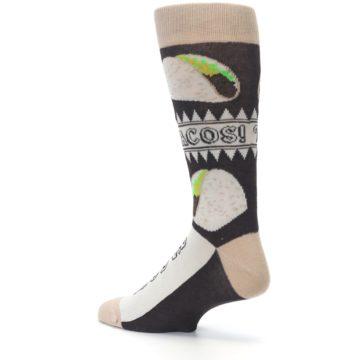 Image of Brown Tan Soft Shell Tacos Men's Dress Socks (side-2-back-14)
