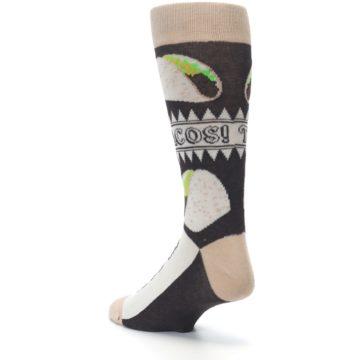 Image of Brown Tan Soft Shell Tacos Men's Dress Socks (side-2-back-15)