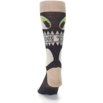 Image of Brown Tan Soft Shell Tacos Men's Dress Socks (back-17)