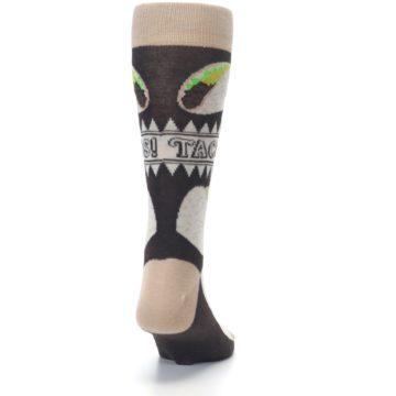 Image of Brown Tan Soft Shell Tacos Men's Dress Socks (back-19)